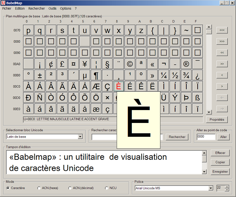Babelmap un utilitaire de visualisation des caractres Unicode