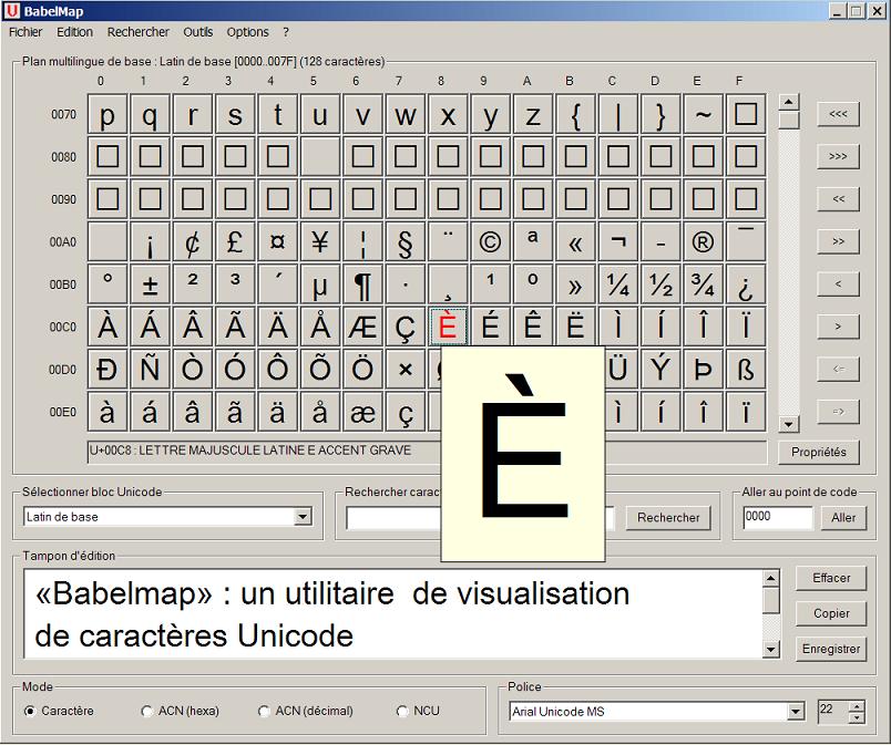 Babelmap un utilitaire de visualisation des caractères Unicode