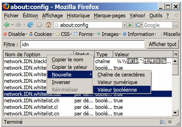 Ajouter network,IDN.whitelist.com