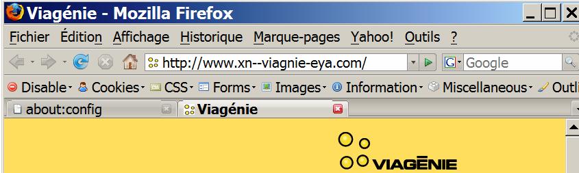 Avant et par défaut: le « é  » dans viagénie.com a causé Firefox à afficher un nom de domaine sous sa forme xn--